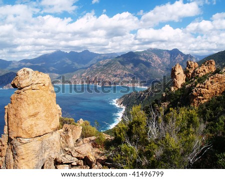 Corsica Calanches near Porto, France - stock photo