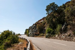 Corsica, 28/08/2017: the winding road of the coastline of the western coast of the Cap Corse, famous for its wild landscape