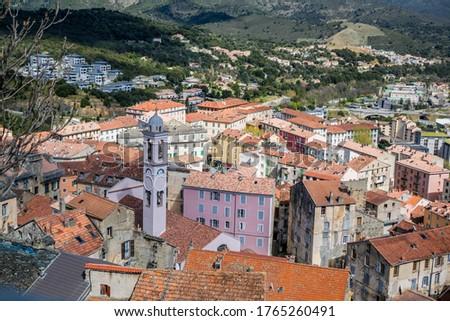 Corte, hilltop village of Haute Corse. Foto stock ©