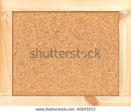 Cortical board for notes in wooden  rough frame a background for the text