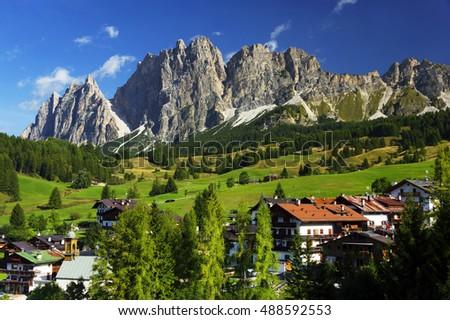 Cortina D Ampezzo resort, South Tyrol ,Italy, Europe Foto stock ©