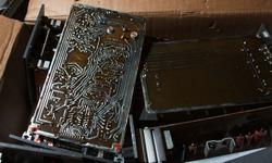 Corton box with printed circuit boards. Tracks on the board
