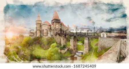 Corvin Castle, also known as Hunyad Castle or Hunedoara Castle is a Gothic-Renaissance castle in Hunedoara, in the region of Transylvania, Romania in watercolor style illustration
