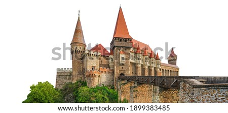 Corvin Castle isolated on white background. Also known as Hunyadi Castle or Hunedoara Castle (Romanian: Castelul Huniazilor or Castelul Corvinilor), it is a Gothic-Renaissance castle in Romania.