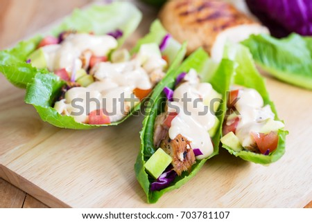 cos lettuce wrap with chicken and dressing #703781107