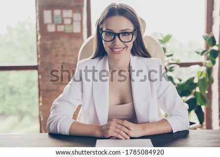Coseup photo of friendly business lady look webcam screen remote work talking interview ask questions headhunter recruiter interested listen vacancy candidate home office formal wear indoors