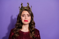 Coseup photo of princess lady lose prom queen status crown head burst out crying negative feelings emotions wear sequins burgundy dress isolated pastel violet color background