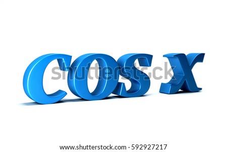 Cosine of X Trigonometry Math Function. 3D Rendering Illustration