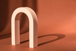 Cosmetic art deco arch display. Fashion geometric arch backdrop for product presentation, shadow from sun. Abstract minimal template podium. Modern scene mockup cosmetics showcase