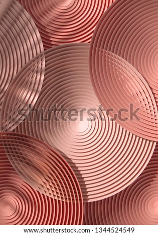 Cosmetic background for product presentation. Beige and nude color  circular geometry pattern with shadow of leaf. 3d rendering illustration.