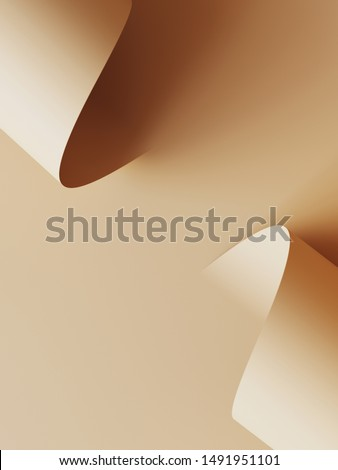 Cosmetic background for product presentation. Beige color paper roll background. 3d rendering illustration.