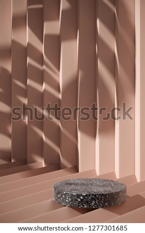 Cosmetic background for product presentation. Black terrazzo podium on cream geometry form background with shadow of leaf. 3d rendering illustration.