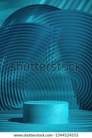 Cosmetic background for product presentation. Blue stucco podium on blue circular geometry pattern with shadow of leaf. 3d rendering illustration.