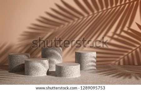 Cosmetic background for product presentation. cream terrazzo podiums on yellow wall scene with shadow of leaf. Minimal geometric shape. Fashion magazine illustration. 3d render illustration.
