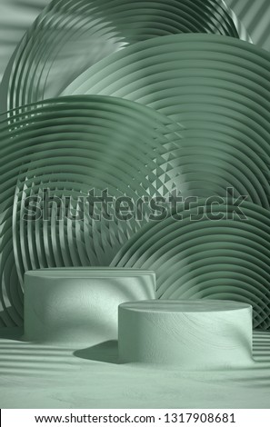 Cosmetic background for product presentation. Green plaster texture podium on green color circular geometry  background with shadow of leaf. 3d rendering illustration.