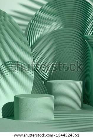 Cosmetic background for product presentation. green stucco podium on green circular geometry pattern with shadow of leaf. 3d rendering illustration.