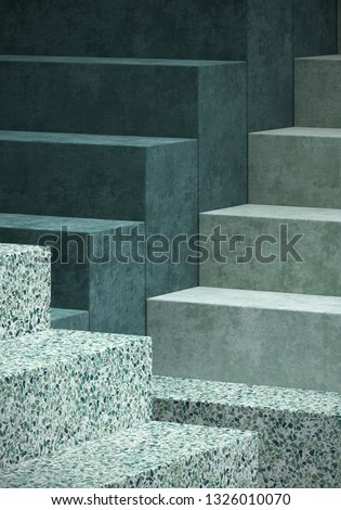 Cosmetic background for product presentation. green velvet and green terrazzo step. 3d rendering illustration.