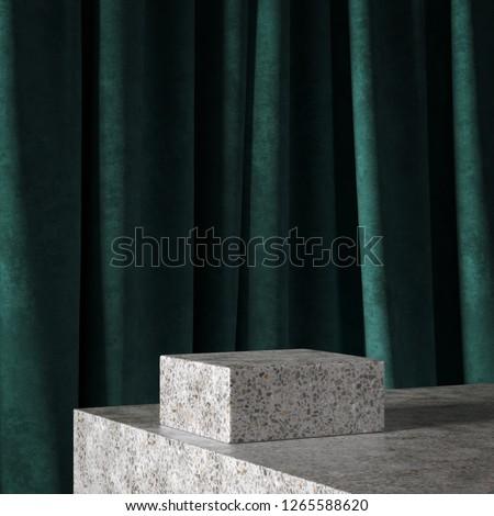Cosmetic background for product  presentation. grey terrazzo podium on green curtain scene.  Mid century minimal product stage. Fashion magazine illustration. 3d render illustration.