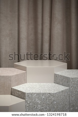 Cosmetic background for product presentation. light grey velvet and grey terrazzo hexagon podium on grey curtain. 3d rendering illustration.