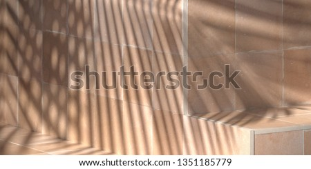 Cosmetic background for product presentation.Nude rustic Moroccan ceramic tile step with shadow of leaf. 3d rendering illustration.