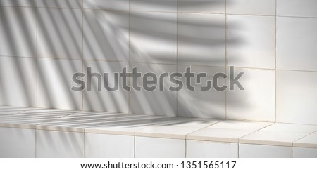Cosmetic background for product presentation. White rustic Moroccan ceramic tile step with shadow of leaf. 3d rendering illustration.