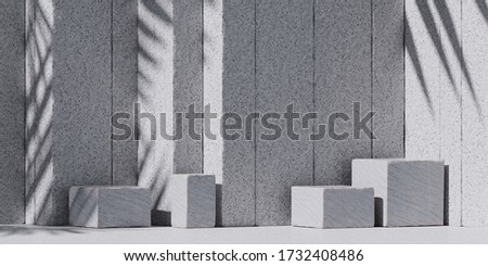 Cosmetic background for product presentation. White stone podium and white stone stripe background. 3d rendering illustration.