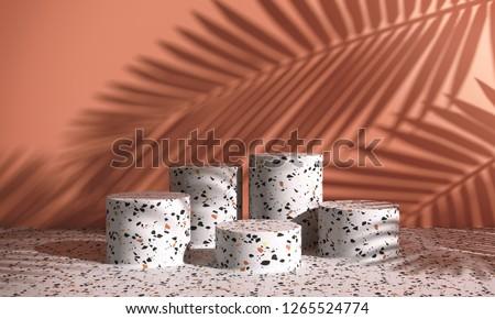 Cosmetic background for product  presentation. white terrazzo podium on cream color wall scene with shadow of leaf. Minimal geometric shape. fashion magazine illustration. 3d render illustration.
