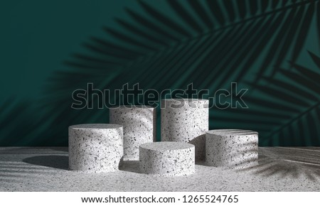 Cosmetic background for product  presentation. white  terrazzo podium on dark green wall scene with shadow of leaf. Minimal geometric shape. fashion magazine illustration. 3d render illustration.