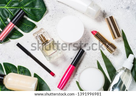 Cosmetic beauty products on white background. Flat lay image. #1391996981