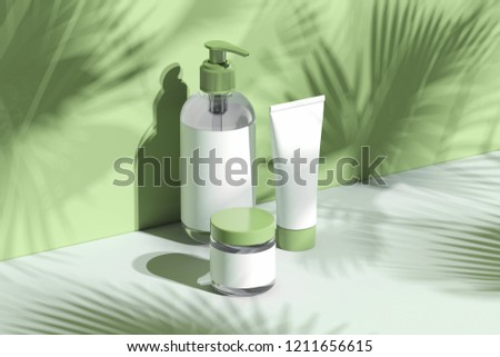 Cosmetic Bottle Set for liquid, cream, gel, lotion. Beauty product package, blank templates of transparent and white plastic containers: dispenser, cream jar, tube. 3d rendering. stock photo