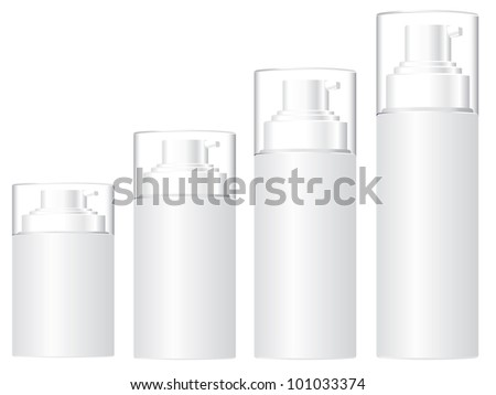 cosmetic bottles with white background