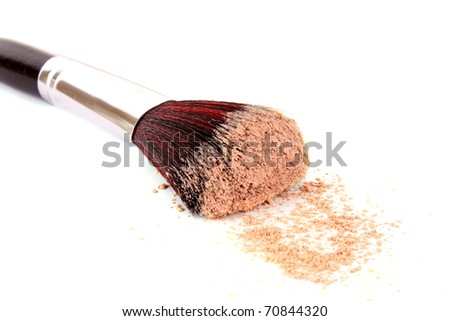 cosmetic brush and powder isolated on white
