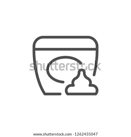 Cosmetic cream line icon isolated on white