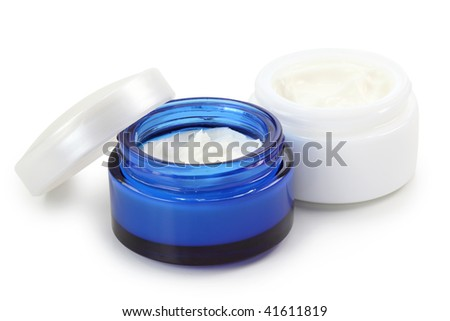 Cosmetic creams isolated on white background