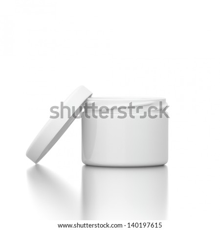 Cosmetic creme with open cap isolated on white background