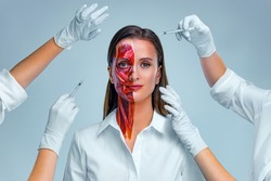 Cosmetic injection in the face. Young woman with half of face with muscles structure under skin. Model for medical training on a light background. Close up video of face human anantomy.