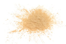 Cosmetic loose powder on white background.