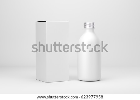 Cosmetic packaging bottle and box, 3d renders #623977958