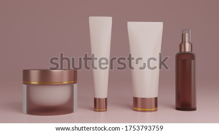 Cosmetic Packaging mockup 3d rendering. Clipping path