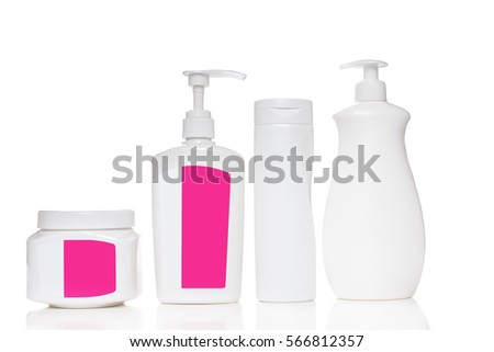 Cosmetic plastic bottle isolated on white background. Liquid container for gel, soap, shampoo, bath foam. Beauty product package, . Mock up cosmetics.. #566812357
