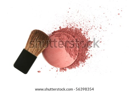 Cosmetic powder brush and crushed blush palette isolated on white