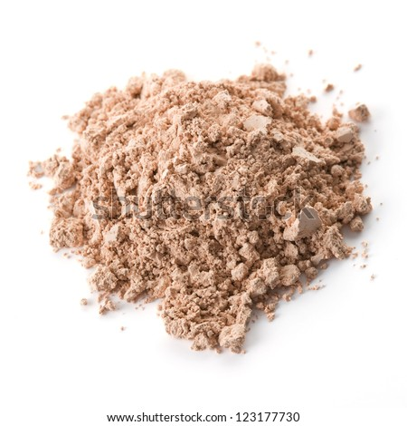 Cosmetic powder isolated on white background - stock photo