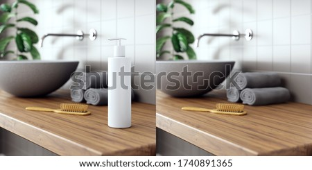 Cosmetic product display bathroom interior background. 3d illustration