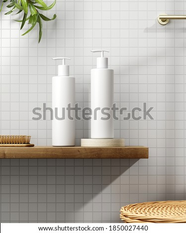 Cosmetic product display bathroom interior background. 3d illustration. Foto stock ©