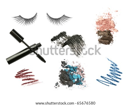 Cosmetic products isolated on white background. Mascara, pencils, lashes, eyeshadow, strokes