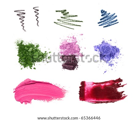 Cosmetic samples isolated on white. Lipstick, eyeshadow, pencil strokes.