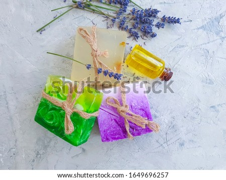 cosmetic soap lavender flower on concrete background