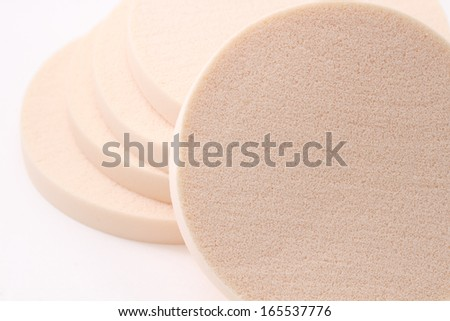 Cosmetic sponges on white