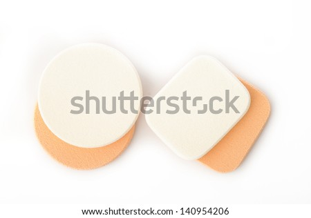 cosmetic sponges on white background #140954206