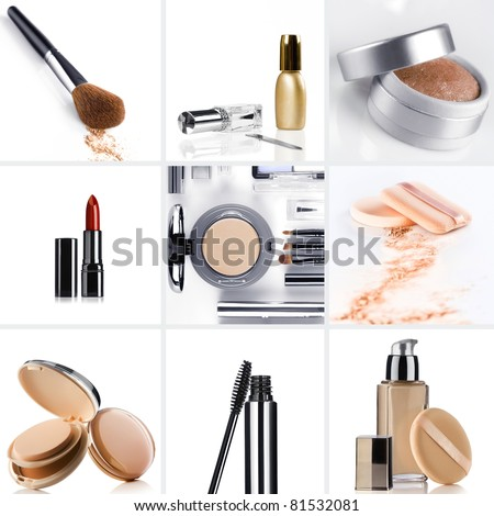 Cosmetic theme collage composed of different image